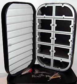 Aluminium fly fishing box with foam & 10 window compartments