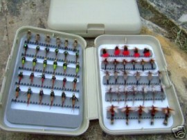 60 ASST OF THE BEST FLIES IN A SLOTTED FOAM FLY BOX