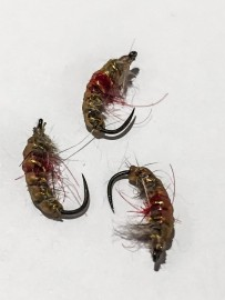 (NEW) Barbless Inward point hook Czech Nymph Grey Red