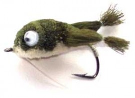 Olive/White Kicking Frog Bass Bug