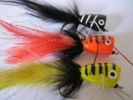 3 Large Popper Collection with rubber legs  on #4/0 hook with weed guard